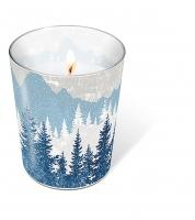 Glaskerze - Forest silhouette blue