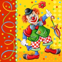 100 Servietten 33x33 cm - Clown