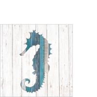 Servietten 25x25 cm - Whitewash Seahorse