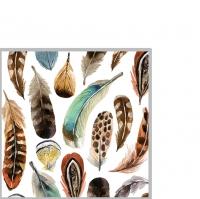 Servietten 25x25 cm - Aquarell-Federn