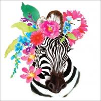 Servietten 25x25 cm - Flora Zebra