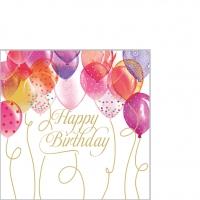 Servietten 25x25 cm - Birthday Balloons