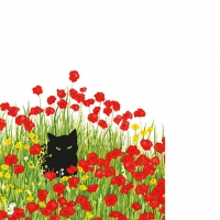 Servietten 25x25 cm - Schwarze Katze Mohnblumen
