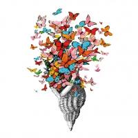 Servietten 25x25 cm - Seashell with Butterflies