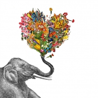 Servietten 25x25 cm - Happy Elephant