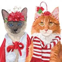Servietten 25x25 cm - Festive Felines