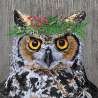 Servietten 25x25 cm - Winter Berry Owl