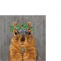 Servietten 25x25 cm - Winter Berry Squirrel