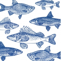 Servietten 33x33 cm - Graphic Fishes marine