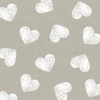 Servietten 33x33 cm - Fashion Hearts taupe white