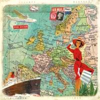 Servietten 33x33 cm - Reisen nach Europa