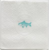 Lunch Servietten Medaillon Fish pearl aqua