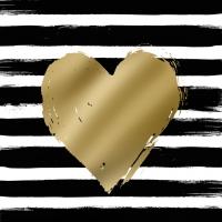 Servietten 33x33 cm - Heart & Stripes schwarz/goldcm