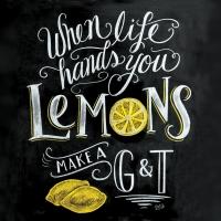 Servietten 33x33 cm - Blackboard Lemons