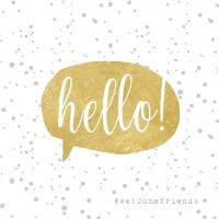 Servietten 33x33 cm - Hello! Gold