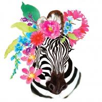 Servietten 33x33 cm - Flora Zebra