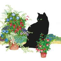 Servietten 33x33 cm - Black Cat Flower Pot