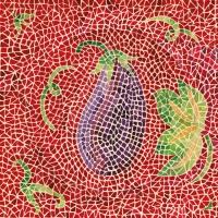 Servietten 33x33 cm - Mosaique Aubergine