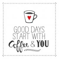 Servietten 33x33 cm - Kaffee und du