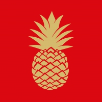 Servietten 33x33 cm - Golden Pineapple red