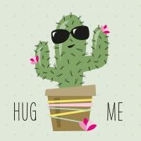 Servietten 33x33 cm - Umarme mich Kaktus