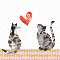 Servietten 33x33 cm - Verliebte Katzen