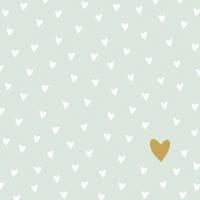 Servietten 33x33 cm - Kleine Herzen pastellgrün
