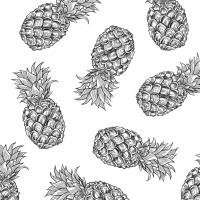 Servietten 33x33 cm - Tropische Ananas BW