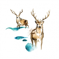 Servietten 33x33 cm - Deer watercolor