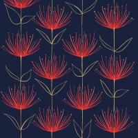 Servietten 33x33 cm - Flowers on Fire blue