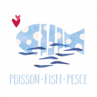 Servietten 33x33 cm - Poisson Fish Pesce white