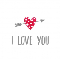 Servietten 33x33 cm - I Love You