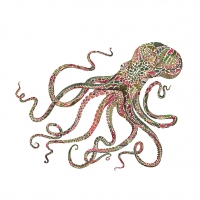 Servietten 33x33 cm - Green Octopus