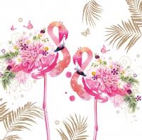 Servietten 33x33 cm - Floral Flamingos