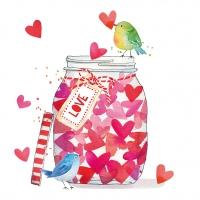Servietten 33x33 cm - Jar of Hearts Napkin 33x33