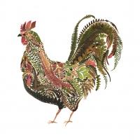 Servietten 33x33 cm - Green Rooster