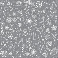 Servietten 33x33 cm - Pure Flower grey