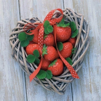 Servietten 33x33 cm - Strawberry Heart