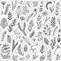 Servietten 33x33 cm - Pure Leaflet white