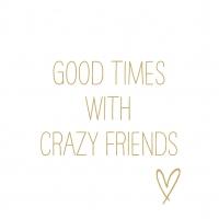Servietten 33x33 cm - Crazy Friends gold