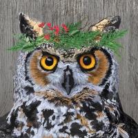 Servietten 33x33 cm - Winter Berry Owl