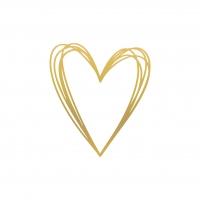 Servietten 33x33 cm - Pure Heart gold