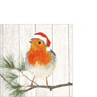 Servietten 25x25 cm - Robin am Weihnachtsbaum
