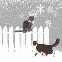 Servietten 25x25 cm - Schneefall-Katzen