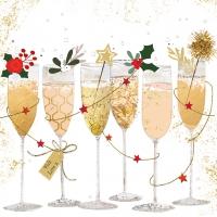 Servietten 25x25 cm - Champagne glasses
