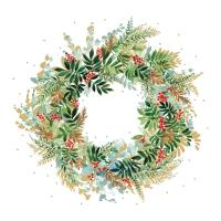 Servietten 25x25 cm - Christmas Hill Wreath