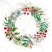 Servietten 25x25 cm - Festive Wreath