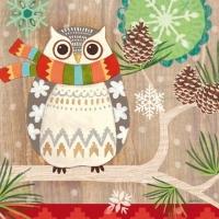 Lunch Servietten Owl with Scarf