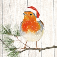 Servietten 33x33 cm - Robin on Xmas Tree