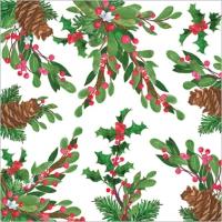 Servietten 33x33 cm - Pine Cones & Holly